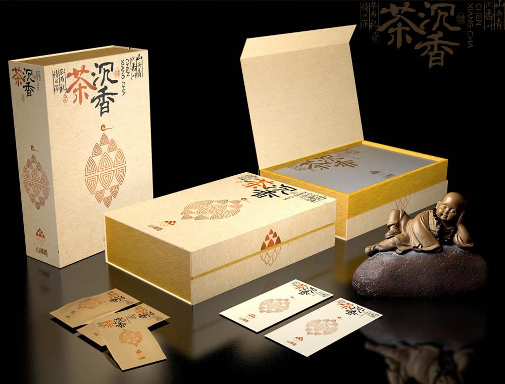 山渐青沉香茶标志+礼盒套装设计